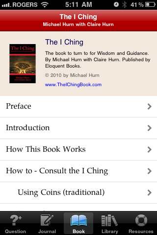 Main app page for The I Ching by Michael Hurn with Claire Hurn.